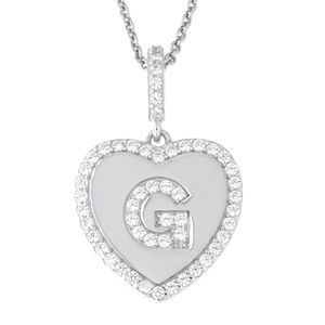 Letter G Initial Heart CZ Pendant Sterling Silver